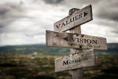 Werte, Vision, hölzerner Wegweiser der Auftragweinlese in der Natur lizenzfreie stockfotos