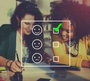 Werten Sie Bewertungsbewertungs-Statistik-Fragebogen-Konzept aus Stockfoto