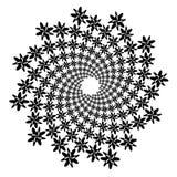 Werveling, draaikolkachtergrond Roterende spiraal Pictogram, bloem, bloemblaadjes, overzicht, witte zwarte, royalty-vrije illustratie