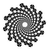 Werveling, draaikolkachtergrond Roterende spiraal Pictogram, bloem, bloemblaadjes, overzicht, witte zwarte, vector illustratie