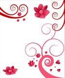 Werveling en bloemillustratie Stock Afbeelding