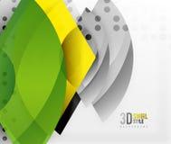 Werveling en golf 3d effect voorwerpen, abstract malplaatje vectorontwerp Royalty-vrije Stock Foto's