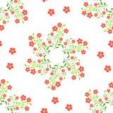 Wervelings rode bloemen met groene bladeren op witte achtergrond Stock Afbeeldingen