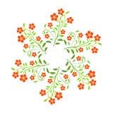 Wervelings rode bloemen met groene leavs op witte achtergrond Royalty-vrije Stock Afbeelding