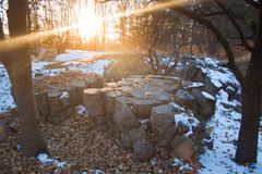 Werwolf, руины штабов ` s Адольфа Гитлера, взрывает упорное бетонное оборонительное сооружение, Stryzhavka, зону Vinnytsia, Украи стоковое изображение rf