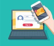 Weryfikacja kodu wiadomość Laptop i smartphone z kodem Informaci osobistej ochrona royalty ilustracja