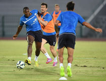 Wes Morgan of Leicester City. BANGKOK, THAILAND - JULY 25:Wes Morgan of Leicester City in action during an evening session at Army United Stadium on July 25 stock photo
