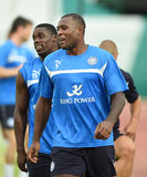 Wes Morgan of Leicester City. BANGKOK, THAILAND - JULY 25:Wes Morgan of Leicester City in action during an evening session at Army United Stadium on July 25 royalty free stock photo