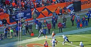 Wes welker vangt een touchdown Stock Afbeelding