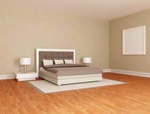 Wesentliches braunes Schlafzimmer Stockbild
