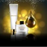 Wesentliches und eine Creme für Hautpflege realistische Illustration des Vektors 3d Das Design von kosmetischen Produkten Darstel Stockbild