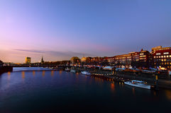 Weser river in Bremen by night Royalty Free Stock Image