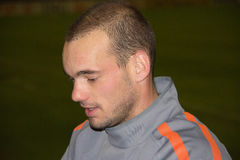 Wesley Sneijder. Dutch footballer playing as an attacking midfielder for Internazionale. He was named UEFA midfielder of the season as well as one of the three Royalty Free Stock Images