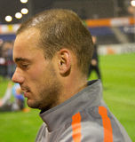 Wesley Sneijder. Dutch footballer playing as an attacking midfielder for Internazionale. He was named UEFA midfielder of the season as well as one of the three Stock Image