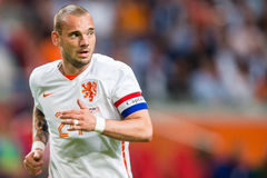 Wesley Sneijder in the Dutch National squad as captain. Wesley Sneijder is captain during he's match for the Dutch national squad in the match The Netherlands Royalty Free Stock Photos