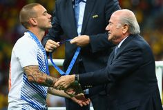 Wesley Sneijder and Sep Blatter Coupe du monde 2014 Royalty Free Stock Photo