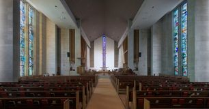 Wesley United Methodist Church interior. Wesley United Methodist Church at 1401 West Green Street on the campus of the University of Illinois at Urbana-Champaign stock photography