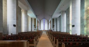Wesley United Methodist Church interior. Wesley United Methodist Church at 1401 West Green Street on the campus of the University of Illinois at Urbana-Champaign royalty free stock photo