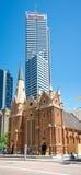 Wesley Uniting Church-Gebäude an der Ecke von William und von Heu Lizenzfreies Stockfoto