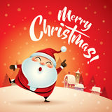Wesoło boże narodzenia! Święty Mikołaj w Bożenarodzeniowej śnieżnej scenie karciany bożego narodzenia powitanie Fotografia Royalty Free