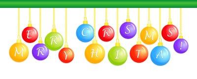 Wesoło boże narodzenia, barwione Bożenarodzeniowe piłki, wita literowanie ilustracji