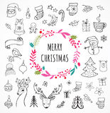 Wesoło boże narodzenia - Doodle Xmas symbole, ręki rysować ilustracje royalty ilustracja