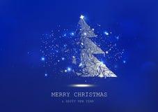 Wesoło boże narodzenia, drzewny wielobok, confetti, złote rozjarzone cząsteczki rozpraszają, plakat, pocztówkowy Błękitny luksus  ilustracji