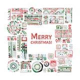 Wesoło boże narodzenia! Etniczny handmade ornament dla twój projekta ilustracji