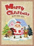 Wesoło boże narodzenia graficzni z Santa, łosiem amerykańskim i imbirowym mężczyzna, royalty ilustracja
