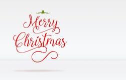 Wesoło boże narodzenia i dekorują drzewnego słowo na białym pracownianym pokoju plecy ilustracja wektor