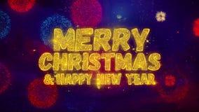 Wesoło boże narodzenia i nowego roku powitania teksta błyskotania cząsteczki na fajerwerku pokazie zdjęcie wideo