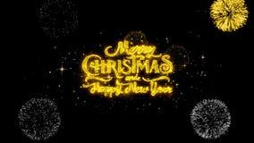 Wesoło boże narodzenia i nowego roku tekst mruga cząsteczki z złotym fajerwerku pokazu tłem 2 zbiory