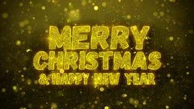 Wesoło boże narodzenia i nowy rok życzeń powitań karta, zaproszenie, świętowanie fajerwerk Zapętlali zdjęcie wideo