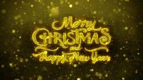 Wesoło boże narodzenia i nowy rok życzeń powitań karta, zaproszenie, fajerwerk Zapętlali 2 zbiory