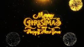 Wesoło boże narodzenia i nowy rok życzeń powitania, zaproszenie, świętowanie fajerwerk Zapętlali 2 zdjęcie wideo
