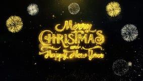 Wesoło boże narodzenia i nowy rok pisać złociste cząsteczki Wybucha fajerwerku pokazu 2 zbiory wideo