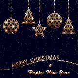 Wesoło boże narodzenia i nowy rok pocztówka Obrazy Royalty Free