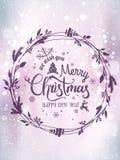 Wesoło boże narodzenia i nowy rok typographical na błyszczącym wakacyjnym tle z Bożenarodzeniowym wiankiem, płatek śniegu, światł ilustracji