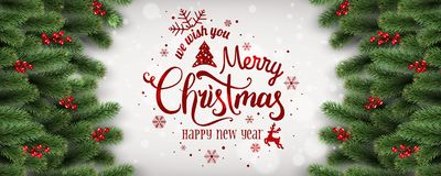 Wesoło boże narodzenia i nowy rok Typographical na białym tle z jodeł gałąź, jagody, światła, płatek śniegu ilustracja wektor