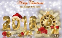 Wesoło boże narodzenia i Szczęśliwa nowa 2018 rok tapeta, wektor Fotografia Stock