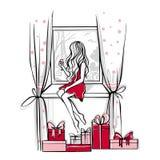 Wesoło boże narodzenia i Szczęśliwa nowego roku wektoru karta mod nakreślenia royalty ilustracja