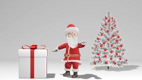 Wesoło boże narodzenia i Szczęśliwa nowy rok 2019 animacja Święty Mikołaj z Bożenarodzeniowym prezentem blisko choinki ilustracji