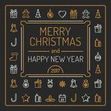 Wesoło boże narodzenia i szczęśliwa nowy rok karta Złoci i Srebni Colour kontury na Czarnym tle Luksusowy Modny Kreskowy projekt royalty ilustracja