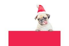 Wesoło boże narodzenia i Szczęśliwa nowy rok 2017 pocztówka z mopsa psem w Święty Mikołaj kapeluszu Obraz Stock
