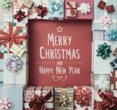 Wesoło boże narodzenia i szczęśliwa nowy rok wiadomość Obrazy Royalty Free