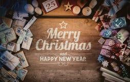 Wesoło boże narodzenia i szczęśliwa nowy rok wiadomość Zdjęcia Royalty Free