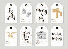 Wesoło boże narodzenia i Szczęśliwe nowego roku rocznika prezenta etykietek karty z kaligrafią Obraz Stock