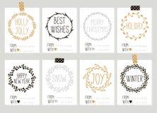 Wesoło boże narodzenia i Szczęśliwe nowego roku rocznika prezenta etykietek karty z kaligrafią Fotografia Royalty Free