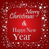 Wesoło boże narodzenia i Szczęśliwego nowego roku literowania pocztówkowy projekt również zwrócić corel ilustracji wektora ilustracji