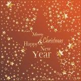 Wesoło boże narodzenia i Szczęśliwego nowego roku złocistego błyskotliwego literowania pocztówkowy projekt ilustracji